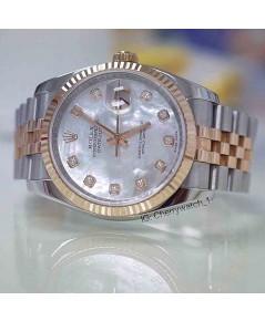 นาฬิกามือสอง rolex datejust 36มิล 116231 หน้ามุกขาวเพชร