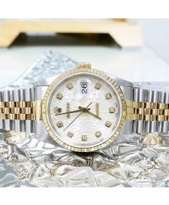 นาฬิกามือสอง rolex datejust 36มิล 16233 หน้าคอมบรอนเพชร