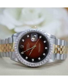 นาฬิกามือสอง rolex datejust 36มิล 16233 หน้าแดงทูโทนเพชร