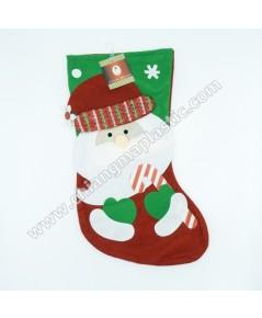 ถุงเท้าแดงใหญ่ รูปหน้าซานต้าถือแคนดี้