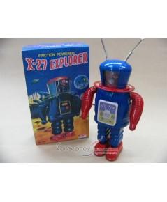 ของเล่นสังกะสี-หายาก-หุ่นX27 Explorerไขลาน พร้อมกล่องอย่างดี กว่า 40 ปี แล้ว ตัวนี้