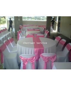 เช่าโต๊ะจีน ให้เช่าเก้าอี้พลาสติกคลุมผ้า ผูกโบว์สีชมพู