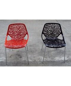 CD-284 เก้าอี้ลายฉุล ขาชุบฯ/เก้าอี้พลาสติกฉลุลาย