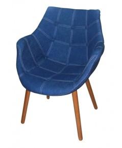 เก้าอี้แนวเรโทร ผ้ายีนส์ ขาไม้ CD-310
