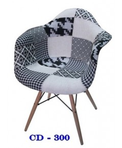 เก้าอี้หุ้มเบาะแนวเรโทร/เก้าอี้ผ้าปะ ขาไม้ CD-300