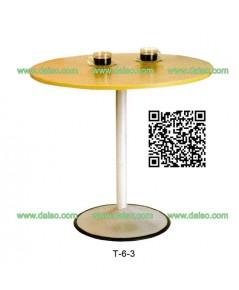 โต๊ะกลมหน้าไม้ยางพารา ขาเหล็ก T-6-3