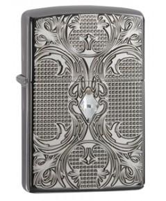 ไฟแช็ค Zippo Armor Lighter, Crystal Lattice, High Polish Black Ice (28956)