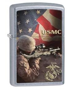 ไฟแช็ค Zippo USMC Military Marines Sniper Street Chrome (28899)
