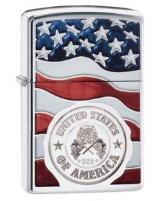 ไฟแช็ค Zippo American Stamp on Flag (29395)