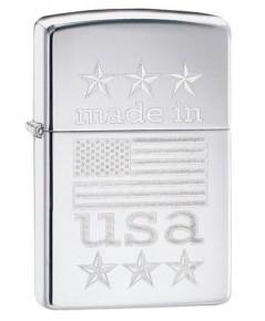 ไฟแช็ค Zippo Made in USA with Flag (29430)