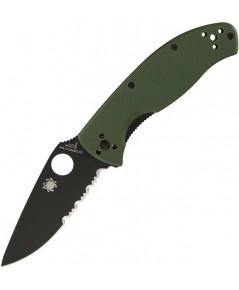มีดพับ Spyderco Tenacious Folding Knife Black Combo Blade, Foliage Green G10 Handles (C122GPSBGR)