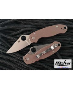 มีดพับ Spyderco Limited Edition Para 3, S35VN Satin Plain Blade, Earth Brown G10 Handles (C223GPBN)