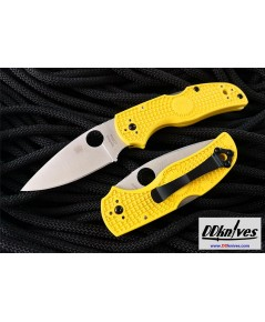 มีดพับ Spyderco Native 5 Salt Folding Knife LC200N Satin Plain Blade, Yellow FRN Handles (C41PYL5)