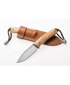 มีดใบตาย LionSteel M1 Compact Fixed M390 Drop Point Blade, Olive Wood Handles, Leather Sheath (M1UL)