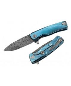 มีดพับ LionSteel ROK Frame Lock Knife Damascus Blade, Blue Titanium Handles (ROK DD BL)