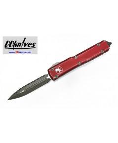 มีดออโต้ Microtech Ultratech D/E OTF Automatic Knife Apocalyptic Blade, Distressed Red (122-12DRD)