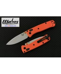 มีดพับ Benchmade Mini Bugout AXIS Folding Knife S30V Satin Plain Blade, Orange Grivory Handles (533)