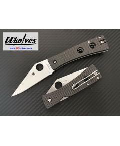 มีดพับ Spyderco Watu Folding Knife CPM-20CV Satin Plain Blade, Carbon Fiber/G10 Handles (C251CFP)