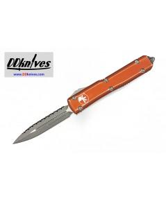 มีดออโต้ Microtech Ultratech D/E OTF Automatic Knife Apocalyptic Blade, Distressed Orange(122-12DOR)