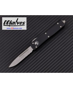มีดออโต้ Microtech UTX-70 S/E OTF Automatic Knife Stonewash Serrated Blade, Black Handles (148-11)