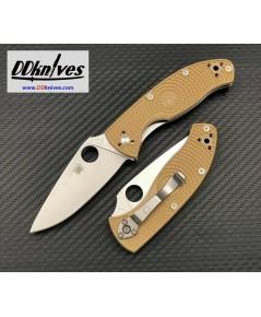 มีดพับ Spyderco Tenacious Lightweight Folding Knife Satin Plain Blade, Tan FRN Handles (C122PTN)