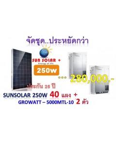 ชุด 10KW - แผง SunSolar+ 250w 40แผง + Growatt 5000MTL-10 ** เป็นชุดประหยัดกว่า