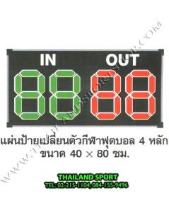 ป้าย เปลื่ยนตัว นักกีฬา รุ่น เลข 4 หลัก (ขนาดป้าย กว้าง 0.80 m. x สูง 0.40 m.)