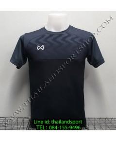 เสื้อกีฬา วอริค warrix รหัส wa-fba573 (สีดำ aa) พิมพ์ลาย ตัดต่อ