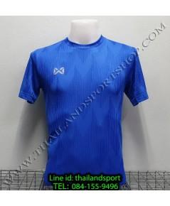 เสื้อกีฬา วอริค warrix รหัส wa-fba574 (สีน้ำเงิน bb) ผ้าทอลาย