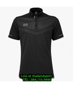 เสื้อโปโลกีฬา polo วอริกซ์ warrix รุ่น wa-3318 (สีดำ-เทา ae ) ทอลาย