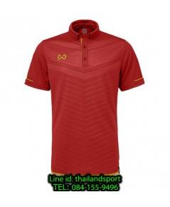 เสื้อโปโลกีฬา polo วอริกซ์ warrix รุ่น wa-3318 (สีแดง-ทอง rn) ทอลาย