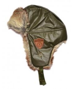 หมวกนักบิน (หนัง) ขนมิ้ง ตัวหนังสีเขียวเข้ม ขนหนานุ่ม อบอุ่น