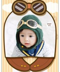 หมวกนักบินรุ่นเยาว์ ทรงหมวกเกาหลี (สีเขียว)