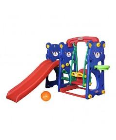สไลเดอร์เด็ก ลายหมีน้อย รุ่น Teddy Bear Slide with Swing SET สีน้ำเงิน-แดง