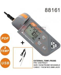 เครื่องบันทึกอุณหภูมิ Dual Temp. USB Datalogger w/PDF report รุ่น 88161 + External probe 15cm.