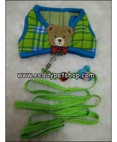 เสื้อกั๊กสายจูง สายจูงรัดอก สีเขียวลายสก็อต เบอร์ 2