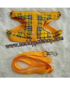 สายจูงรัดอกสุนัข สายจูงสุนัข สีเหลืองลายสก็อต เบอร์4