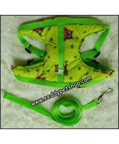 สายจูง รัดอกสุนัข สายจูงสุนัข สีเขียวลายนกฮูก เบอร์ 3