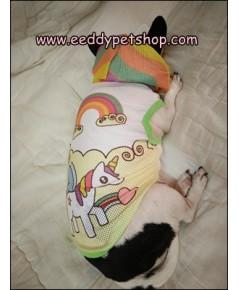 เสื้อสุนัขมีฮู๊ด เสื้อฮู๊ดหมาผ้ารู ลายยูนิคอน ใส่หน้าร้อน เบอร์ 2