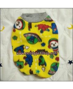 เสื้อยืดหมาผ้าสำลี เสื้อสุนัขผ้าสำลี สีเหลืองลายยานอวกาศ เบอร์ 2