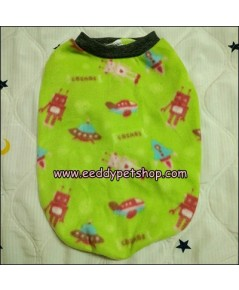เสื้อยืดหมาผ้าสำลี เสื้อสุนัขผ้าสำลี สีเขียวลายUFO เบอร์ 4
