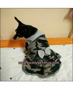 ชุดกระโปรงสุนัข ชุดกระโปรงหมาผ้ายืด ลายทหาร เบอร์4