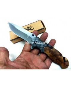 มีดพับบราวนิ่ง Browning ประกับด้ามไม้เนื่้ออ่อนสวยงามมีช่องตัดเชือก