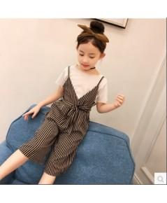 เซท 2 ชิ้น เสื้อยืด+เอี๊ยมลายทาง ผูกโบว์ด้านหน้า แฟชั่นเด็กเกาหลี งานนำเข้า