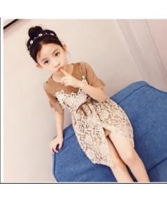 เซท 2 ชิ้น เสื้อยืด+เอี๊ยมลูกไม้ แฟชั่นเด็กเกาหลี งานนำเข้า