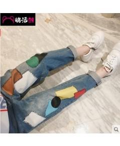 กางเกงยีนส์เด็กผู้หญิง ยีนส์ขายาวเด็ก เอวยืด แต่งตัดผ้าตัดแปะสีๆ เท่ห์มากคะ แฟชั่นเด็กเกาหลี งานนำเข