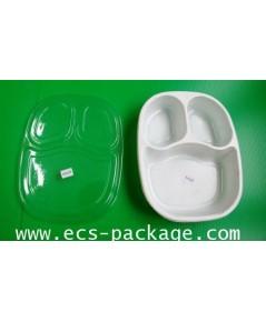 EC008 กล่องอาหาร 3 ช่องแบบกลม