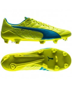 Puma evoSPEED SL Leather FG Safety Yellow/Atomic Blue/White