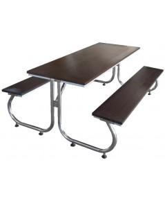 ชุดโต๊ะโรงอาหาร หน้าไม้เทียม ขาสแตนเลส