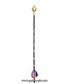 ไม้คฆา LUNAR หัวมกุฎ พันเชือก 150ซม รุ่นปรับปรุงใหม่สีธงชาติ หัวทองและเงิน